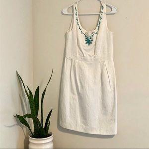 White Turquoise beaded Dress Size 8